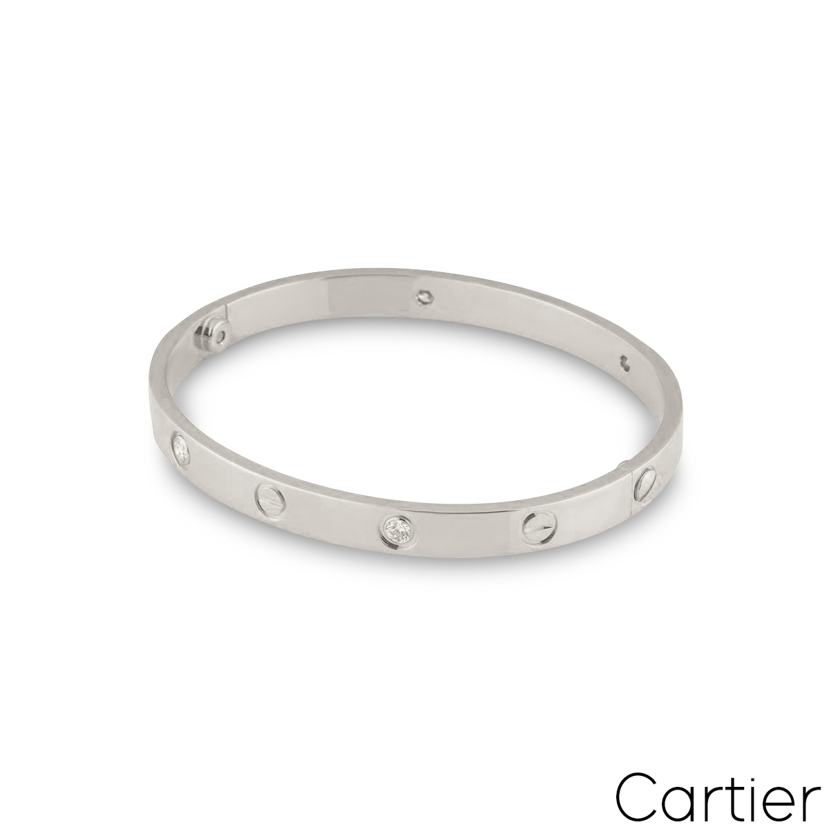 Cartier White Gold Half Diamond Love Bracelet Size 16 B6035816